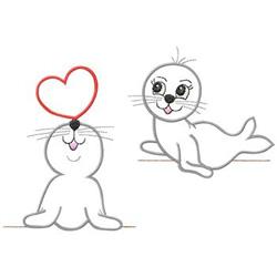 Seals In Love embroidery design