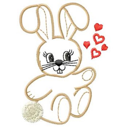 Bunny With Hearts embroidery design