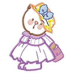 Girl Cat embroidery design