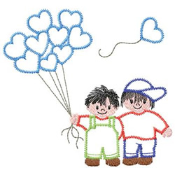 Boys With Balloons embroidery design
