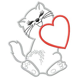 Cat With Heart embroidery design