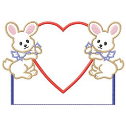 Bunnies And Heart embroidery design