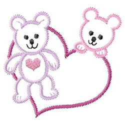 Bears With Hearts embroidery design
