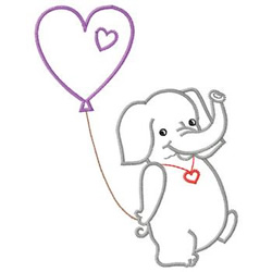 Elephant With Balloons embroidery design
