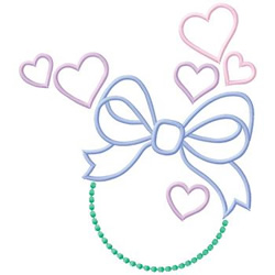 Hearts And Bow embroidery design