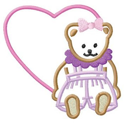 Bear With Heart embroidery design