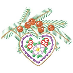 Pine Branch Heart embroidery design