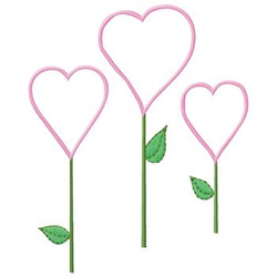 Hearts On Stems embroidery design