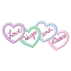 Hearts Words embroidery design