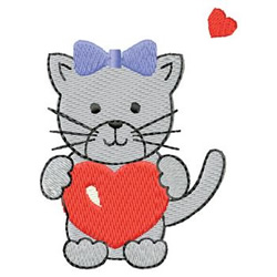 Kitten With Hearts embroidery design