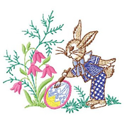 Rabbit Painting Eggs embroidery design