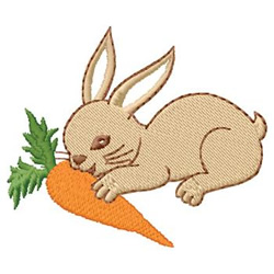 Rabbit Eating Carrot embroidery design
