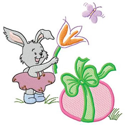 Bunny With Egg embroidery design