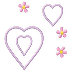 Hearts And Daisies embroidery design