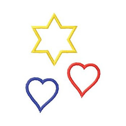 Hearts And Star embroidery design
