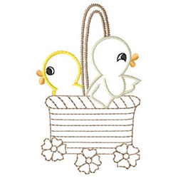 Ducks In A Basket embroidery design