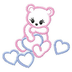 Bear With Hearts embroidery design