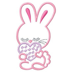 Rabbits With Heart embroidery design