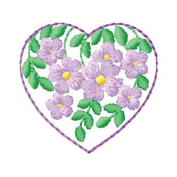 Floral In Heart embroidery design