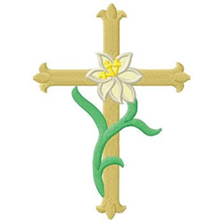 Cross With Lily embroidery design