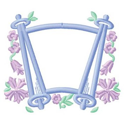Scroll With Flowers embroidery design
