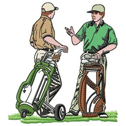 Golfers embroidery design