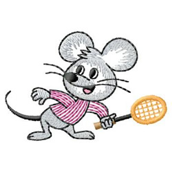 Tennis Mouse embroidery design