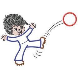 Boy Kicking Ball embroidery design