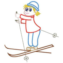Child Skiing embroidery design