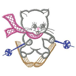 Cat On Skis embroidery design