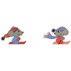 Mice Skiing embroidery design