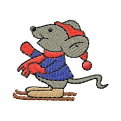 Skiing Mouse embroidery design