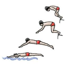 Swimming embroidery design