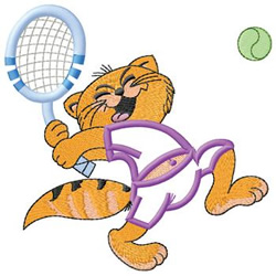 Cat Tennis Player embroidery design