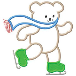 Ice Skating Bear embroidery design
