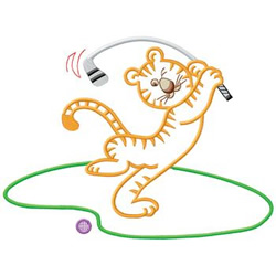 Golfing Tiger embroidery design