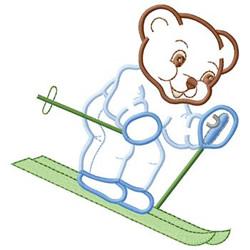 Skier Bear embroidery design