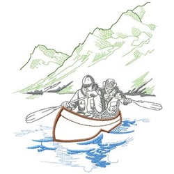 Canoeing embroidery design