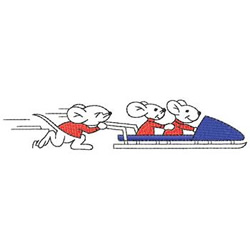 Mice On Bobsled embroidery design