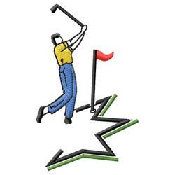 Golfer embroidery design