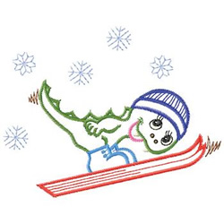 Dragon Skiing embroidery design