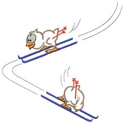 Birds Skiing embroidery design