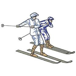 Vintage Skiers embroidery design