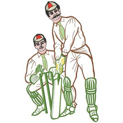 Cricket Players embroidery design