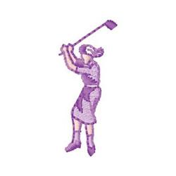 Female Golfer embroidery design