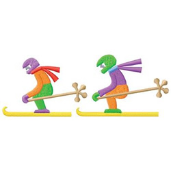 Skiers embroidery design