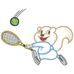 Squirrel Tennis Player embroidery design