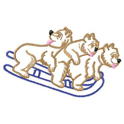 Bears On Bobsled embroidery design