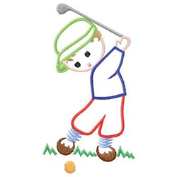 Child Golfing embroidery design