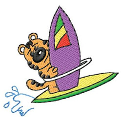 Surfer Cat embroidery design